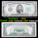 **Star Note** 1934c $5 Green Seal Federal Reserve Note Grades vf++