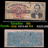 US Fractional Currency 50c Fourth Issue fr-1374 Abraham Lincoln Grades f+
