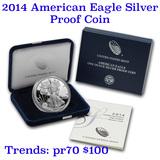 2014 1 oz .999 fine Proof Silver American Eagle orig box w/COA