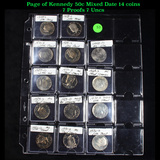 Page of Kennedy 50c Mixed Date 14 coins