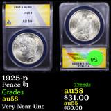 ANACS 1925-p Peace Dollar $1 Graded au58 By ANACS