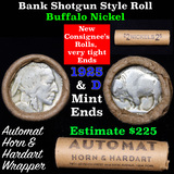 Buffalo Nickel Shotgun Roll in Old Bank Style 'Automat Horn & Hardart' Wrapper 1925 & d Mint Ends Gr