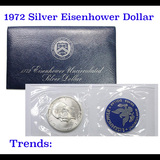 1972-s Silver Uncirculated Eisenhower Dollar in Original Packaging with COA