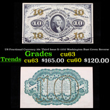 US Fractional Currency 10c Third Issue fr-1255 Washington Bust Green Reverse Grades Select CU