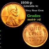 1936-p Lincoln Cent 1c Grades Choice+ Unc RD