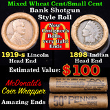 Mixed small cents 1c orig shotgun roll, 1919-s Wheat Cent, 1898 Indian cent other end, McDonalds Wra