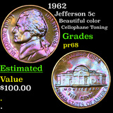 Proof 1962 Jefferson Nickel 5c Grades GEM++ Proof