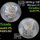 1878-p 7tf Morgan Dollar $1 Grades Select Unc PL