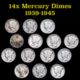 Group of 14 Mixed Date Mercury Dimes