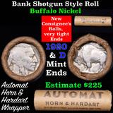Buffalo Nickel Shotgun Roll in Old Bank Style 'Automat Horn & Hardart' Wrapper 1920 & d Mint Ends Gr