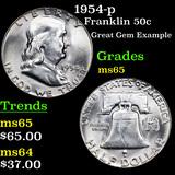 1954-p Franklin Half Dollar 50c Grades GEM Unc