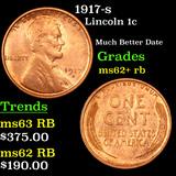 1917-s Lincoln Cent 1c Grades Select Unc RB