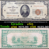1929 $20 National Currency 'The Federal Reserve Bank of Richmond, VA' Grades vf+