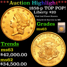 1858-p TOP POP! Gold Liberty Double Eagle $20