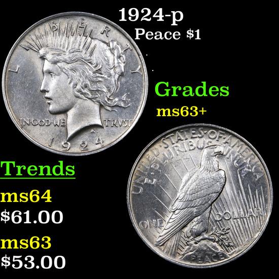 1924-p Peace Dollar $1 Grades Select+ Unc