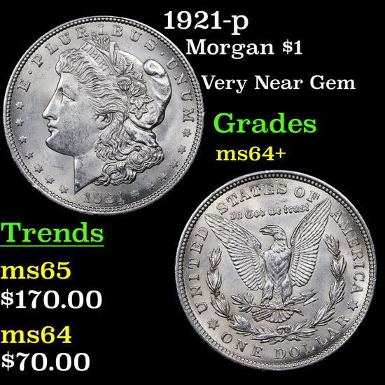 1921-p Morgan Dollar $1 Grades Choice+ Unc
