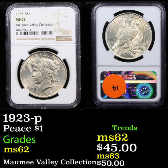NGC 1923-p Peace Dollar $1 Graded ms62 By NGC