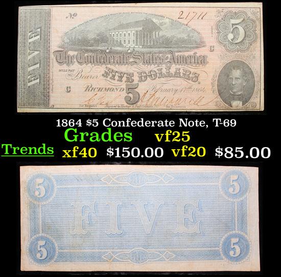 1864 $5 Confederate Note, T-69 Grades vf+