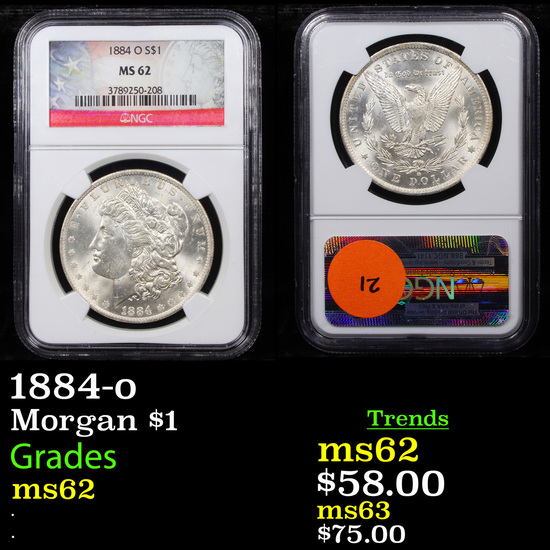 NGC 1884-o Morgan Dollar $1 Graded ms62 By NGC
