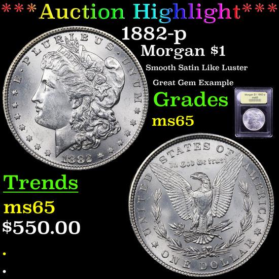 ***Auction Highlight*** 1882-p Morgan Dollar $1 Graded GEM Unc By USCG (fc)