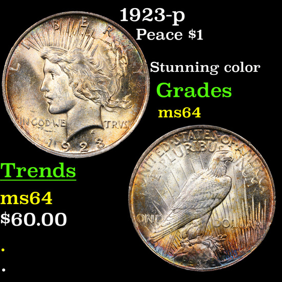 1923-p Peace Dollar $1 Grades Choice Unc