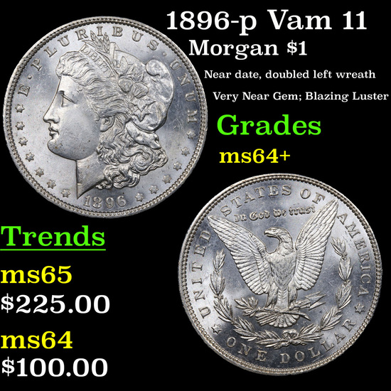 1896-p Vam 11 Morgan Dollar $1 Grades Choice+ Unc