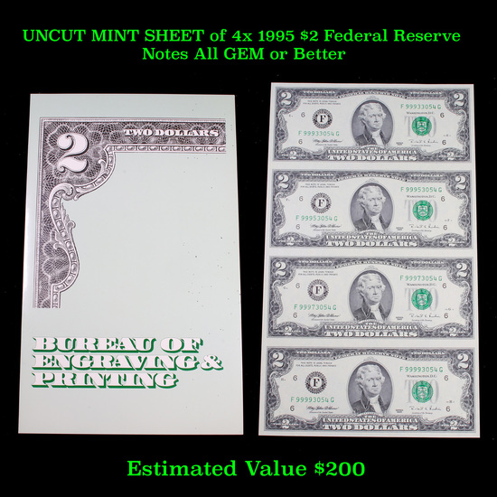 UNCUT MINT SHEET of 4x 1995 $2 Federal Reserve Notes All GEM or Better