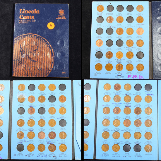 ***Auction Highlight*** Partial Lincoln cent book 1909-1939 68 coins (fc)