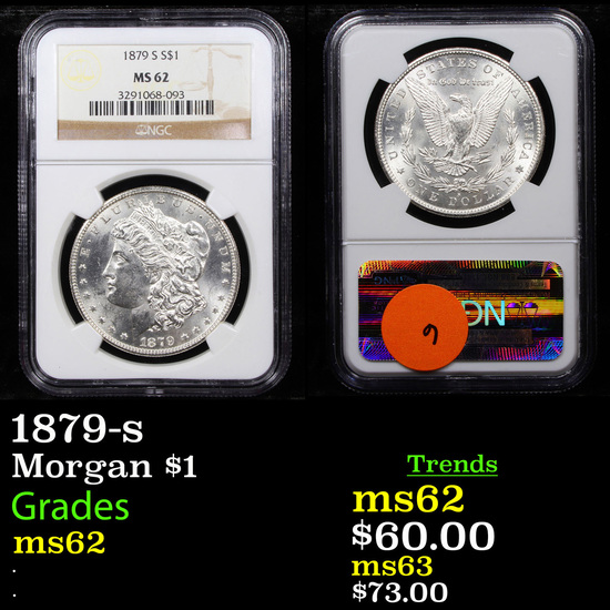 NGC 1879-s Morgan Dollar $1 Graded ms62 By NGC