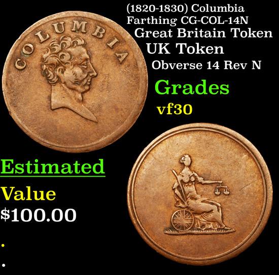 (1820-1830) Columbia Farthing CG-COL-14N Grades vf++