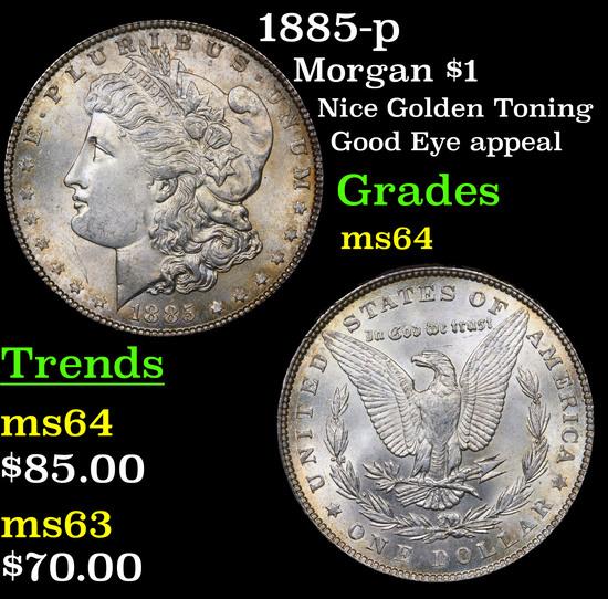 1885-p Morgan Dollar $1 Grades Choice Unc