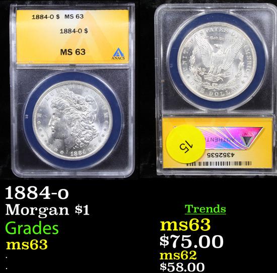 ANACS 1884-o Morgan Dollar $1 Graded ms63 By ANACS