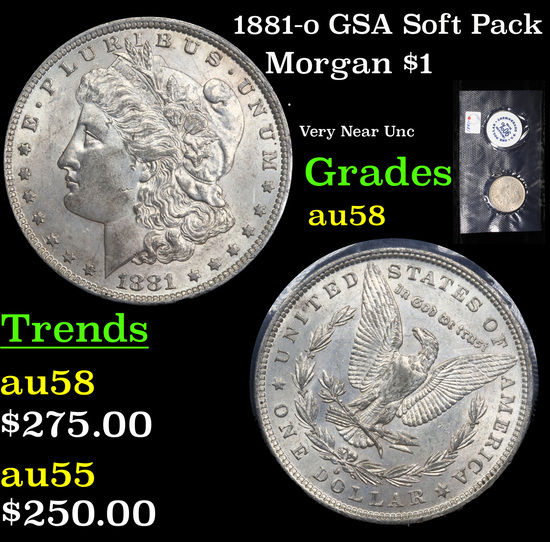 1881-o GSA Soft Pack Morgan Dollar $1 Grades Choice AU/BU Slider