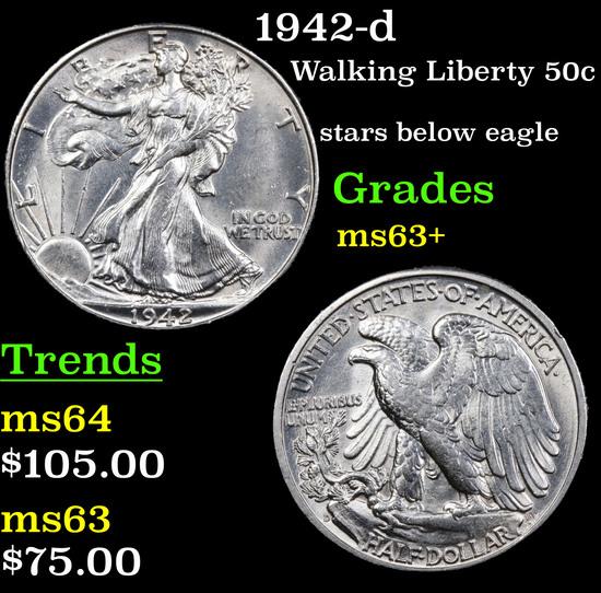 1942-d Walking Liberty Half Dollar 50c Grades Select+ Unc