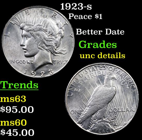 1923-s Peace Dollar $1 Grades Unc Details