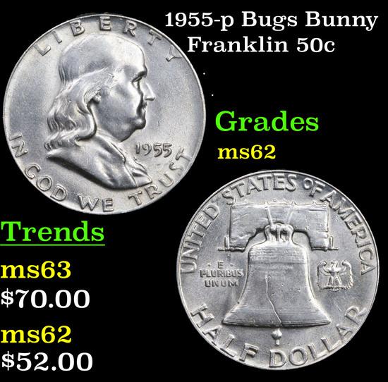 1955-p Bugs Bunny Franklin Half Dollar 50c Grades Select Unc