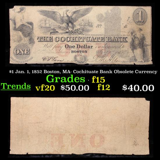 $1 Jan. 1, 1852 Boston, MA- Cochituate Bank Obsolete Currency Grades f+