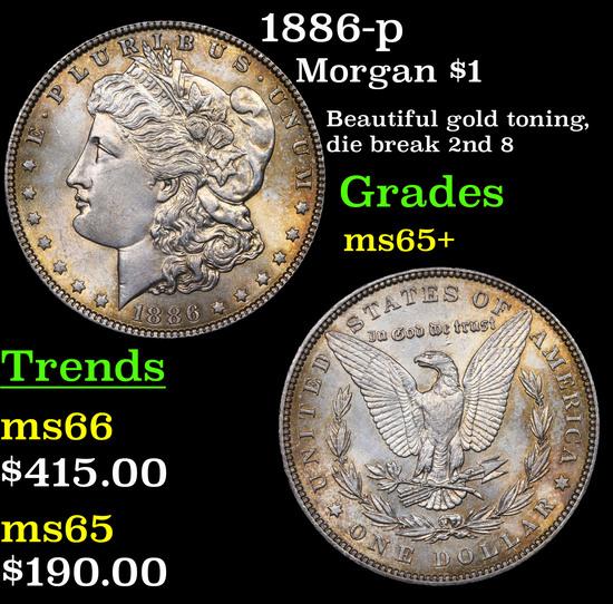 1886-p Morgan Dollar $1 Grades GEM+ Unc