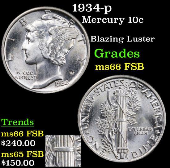 1934-p Mercury Dime 10c Grades GEM+ FSB