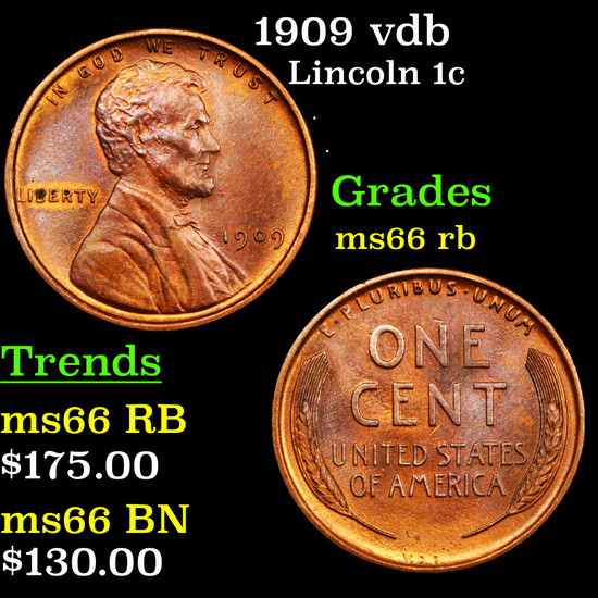 1909 vdb Lincoln Cent 1c Grades GEM+ Unc RB