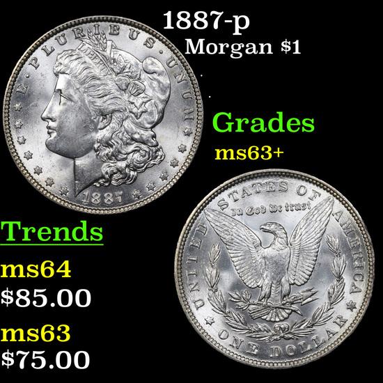1887-p Morgan Dollar $1 Grades Select+ Unc