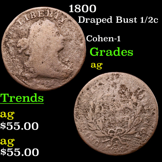 1800 Draped Bust Half Cent 1/2c Grades ag