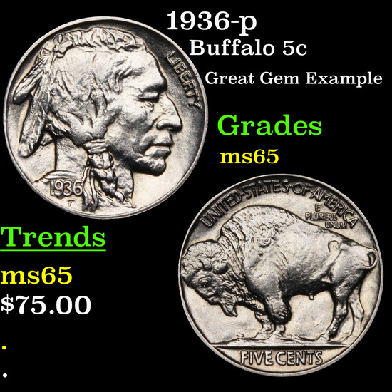 1936-p Buffalo Nickel 5c Grades GEM Unc