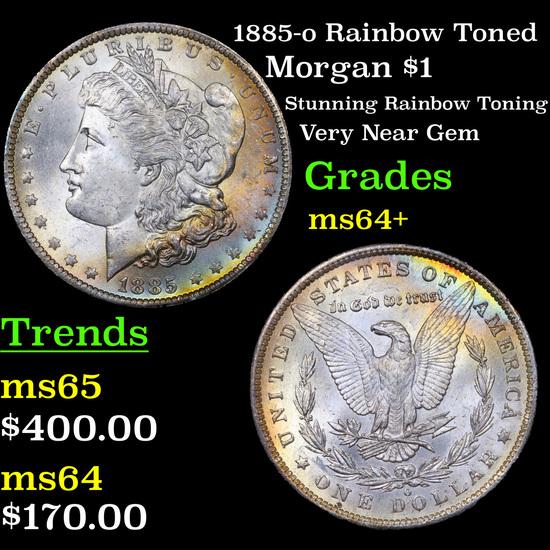 1885-o Rainbow Toned Morgan Dollar $1 Grades Choice+ Unc