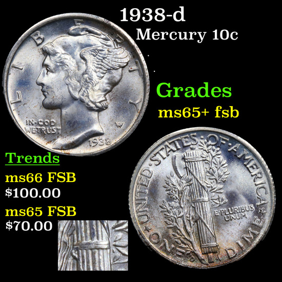 1938-d Mercury Dime 10c Grades GEM+ FSB