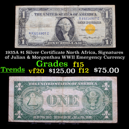 1935A $1 Silver Certificate North Africa, Signatures of Julian & Morgenthau WWII Emergency Currency