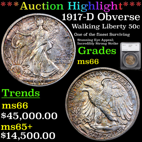 *HIGHLIGHT OF ENTIRE AUCTION* 1917-D Obverse Walking Liberty Half Dollar 50c Graded ms66 By SEGS (fc