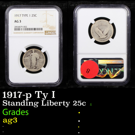 NGC 1917-p Ty I Standing Liberty Quarter 25c Graded ag3 By NGC
