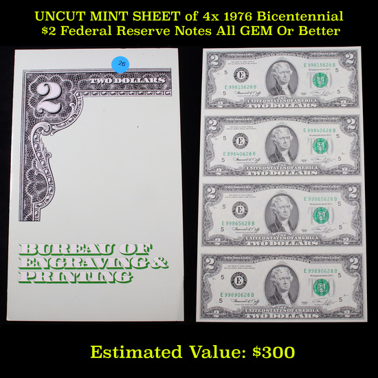 UNCUT MINT SHEET of 4x 1976 Bicentennial $2 Federal Reserve Notes All GEM Or Better