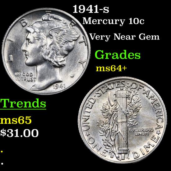 1941-s Mercury Dime 10c Grades Choice+ Unc